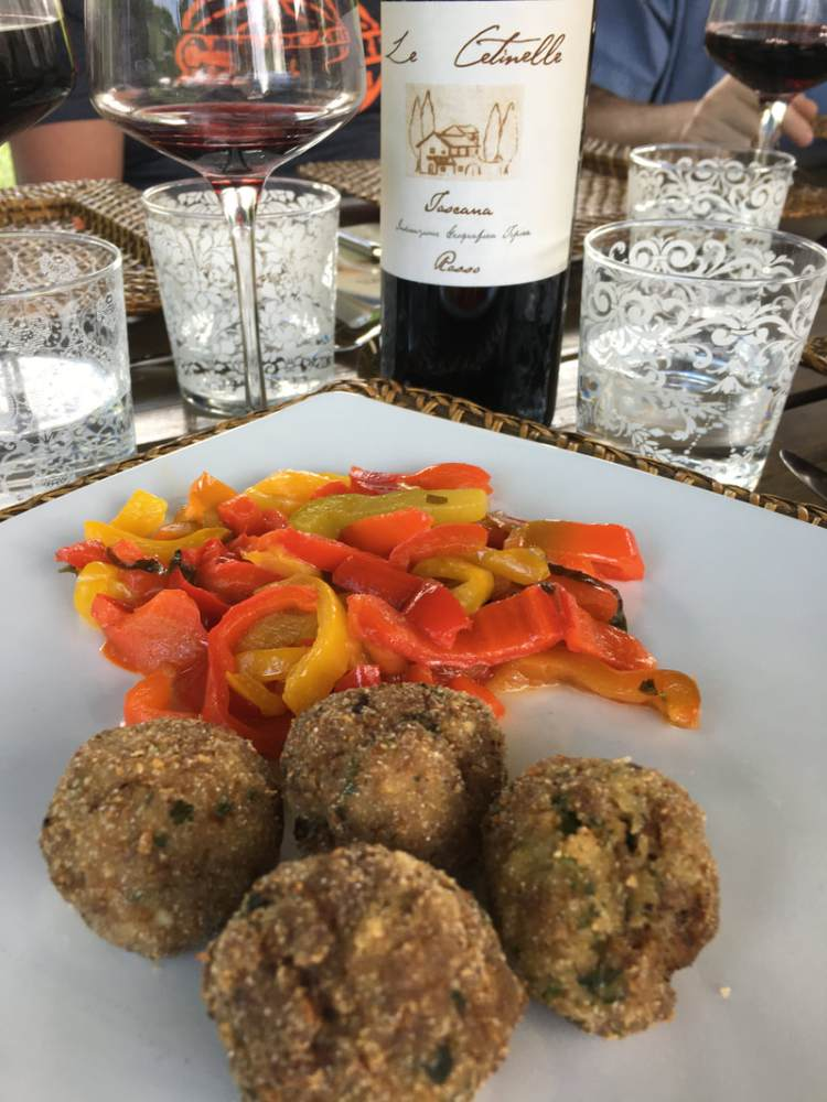 side dish of peppers and meatballs